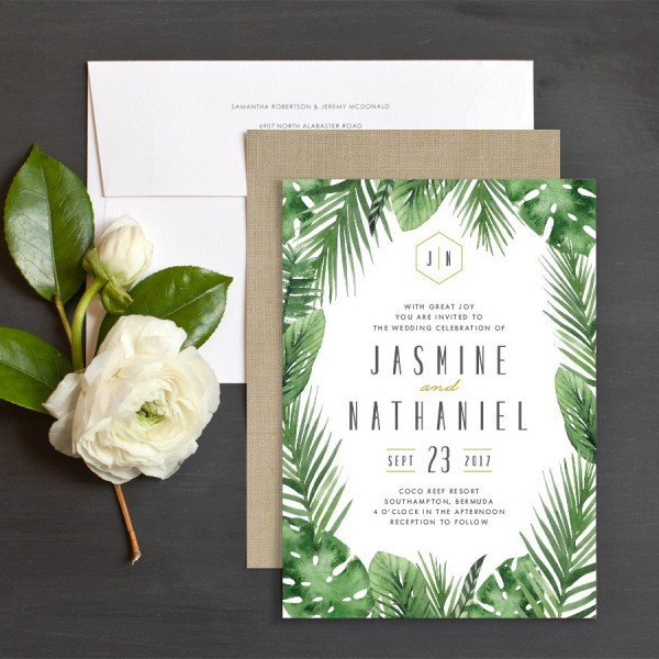 Tropical Leaves Wedding Invitations Elli