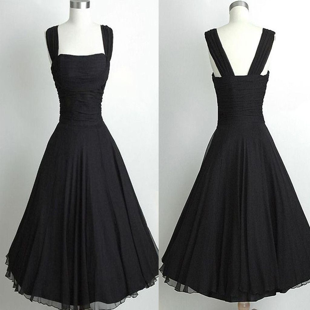Simple Black Tight Vintage Ball Gown casual homecoming prom dresses ...