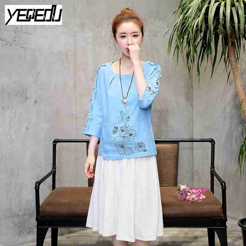 >> Click to Buy << #1029 Summer 2017 Slim embroidery t shirt women Fashion Cotton linen Solid color Lace short sleeve O-neck Vintage Chinese style #Affiliate