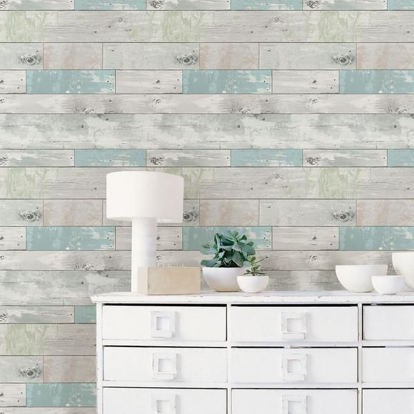 Beachwood Peel And Stick Wallpaper Wood Wallpaper Nuwallpaper Distressed Wood Wallpaper