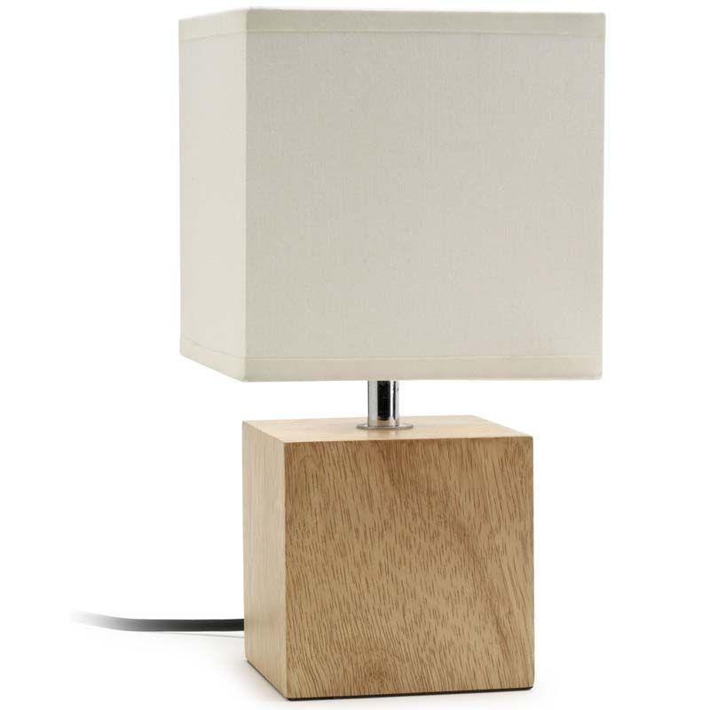 Lampe de salon contemporaine avec joli pied cube de bois naturel et bel abat jour carr blanc - Lampe de chevet contemporaine ...
