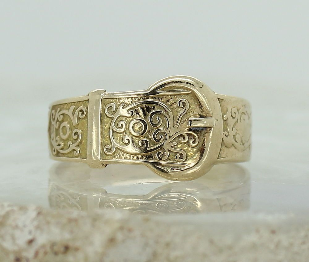 Vintage 9ct yellow gold buckle ring size w ladies or mens wedding