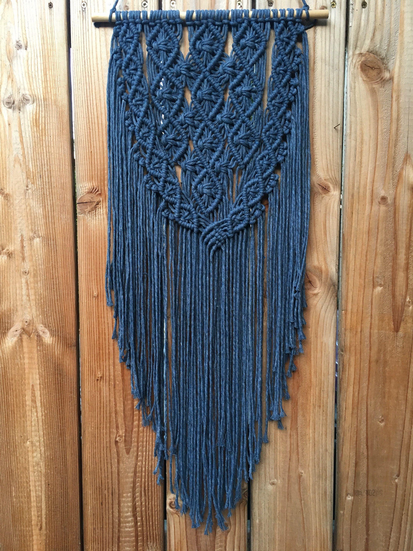 92d512f44fb9e Navy blue macrame wall hanging