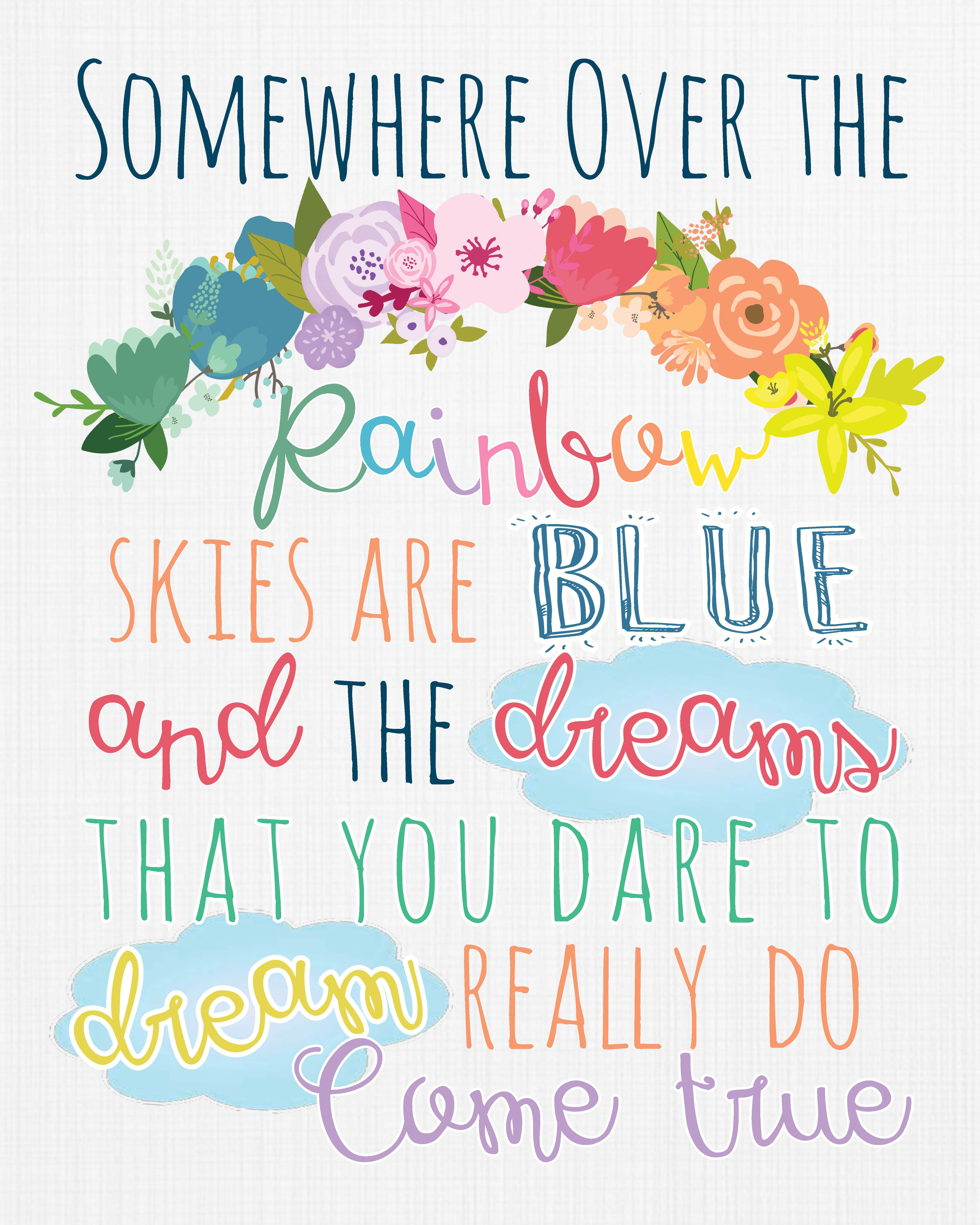 Color printing quotes - Somewhere Over The Rainbow Print By Dubdubdesigns Dubdubdesigns Etsy Com