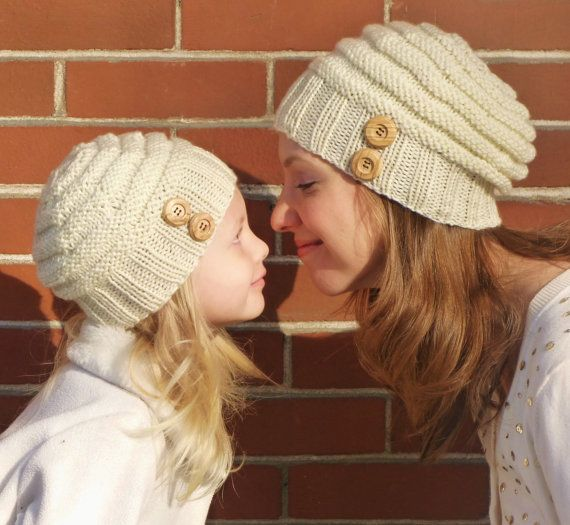 4c3ce7ce499b4 Mommy and Me Matching Hand Knit Slouchy Cream Hats with Natural Wood  Buttons