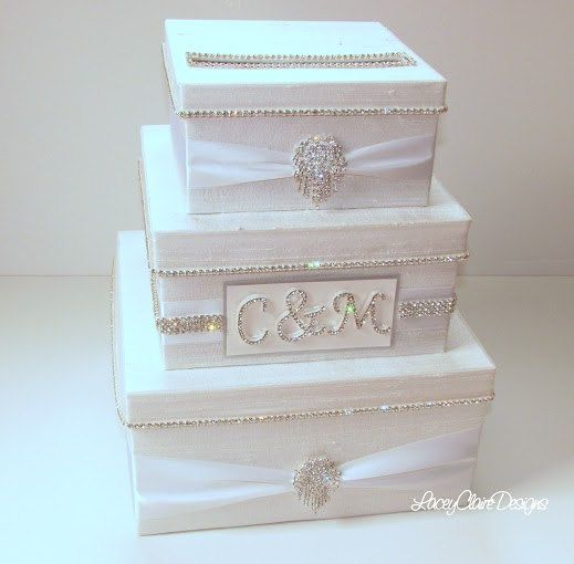 Wedding Card Box, Bling Card Box, Rhinestone Money Holder, White ...