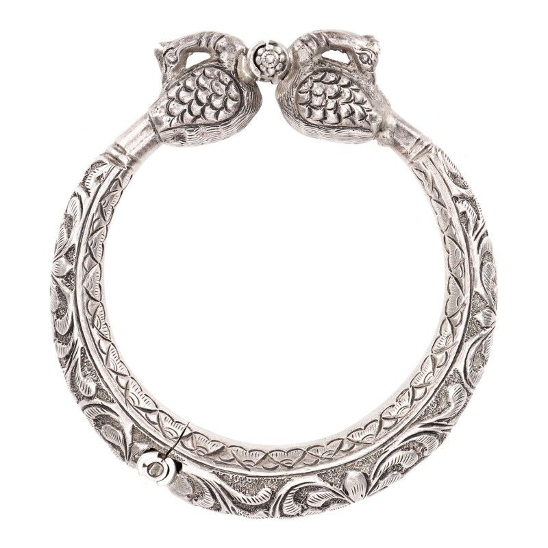 f6d7a544ee STATEMENT ENGRAVED PEACOCK BANGLE KADA - Kadas And Bangles - Categories,  92.5 STERLING SILVER CUFF | Ahilya Jewels