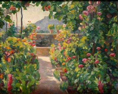 """Lote: 34001466. CARDONA I LLADÓS, Joan (Barcelona, 1877 – 1957).  """"Jardín de Chopin, Valldemossa"""".  Óleo sobre lienzo.  Firmado y dedicado en el ángulo inferior derecho. Firmado y titulado al dorso.  Medidas: 73 x 92 cm; 83 x 102 cm (marco)."""