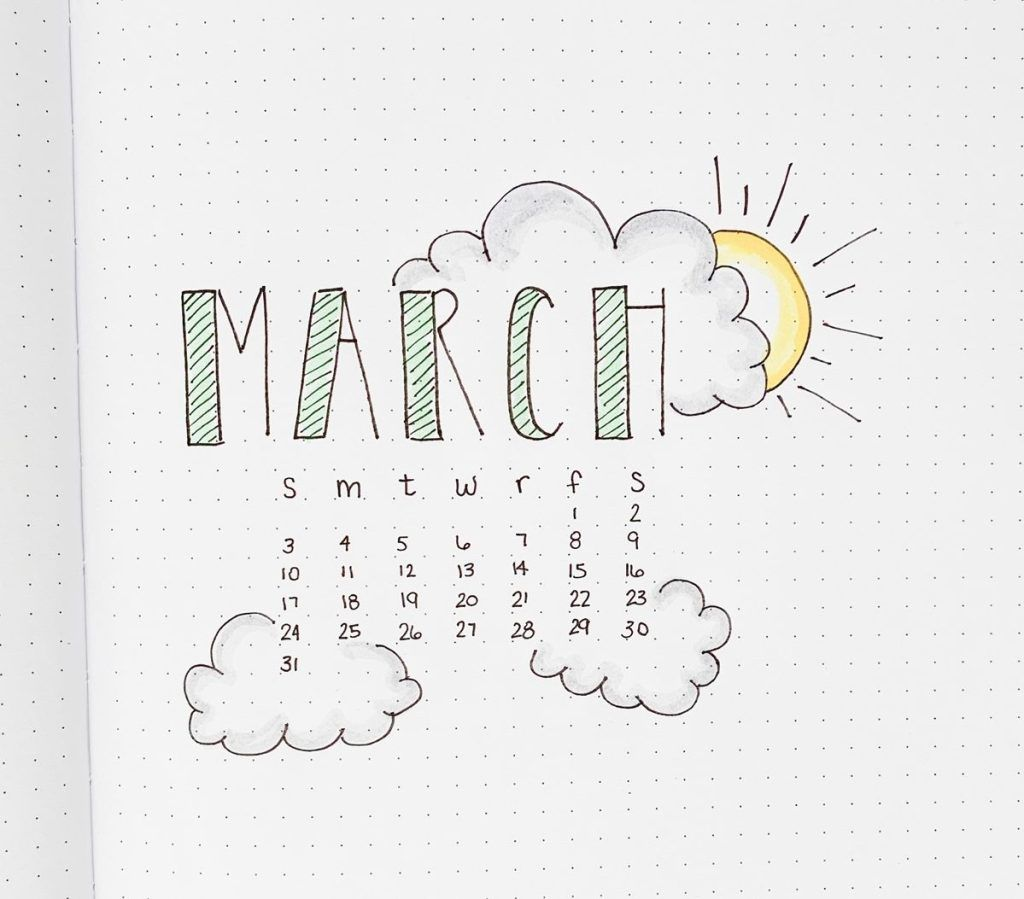 Spring themed cover page to try in bullet journals for March.