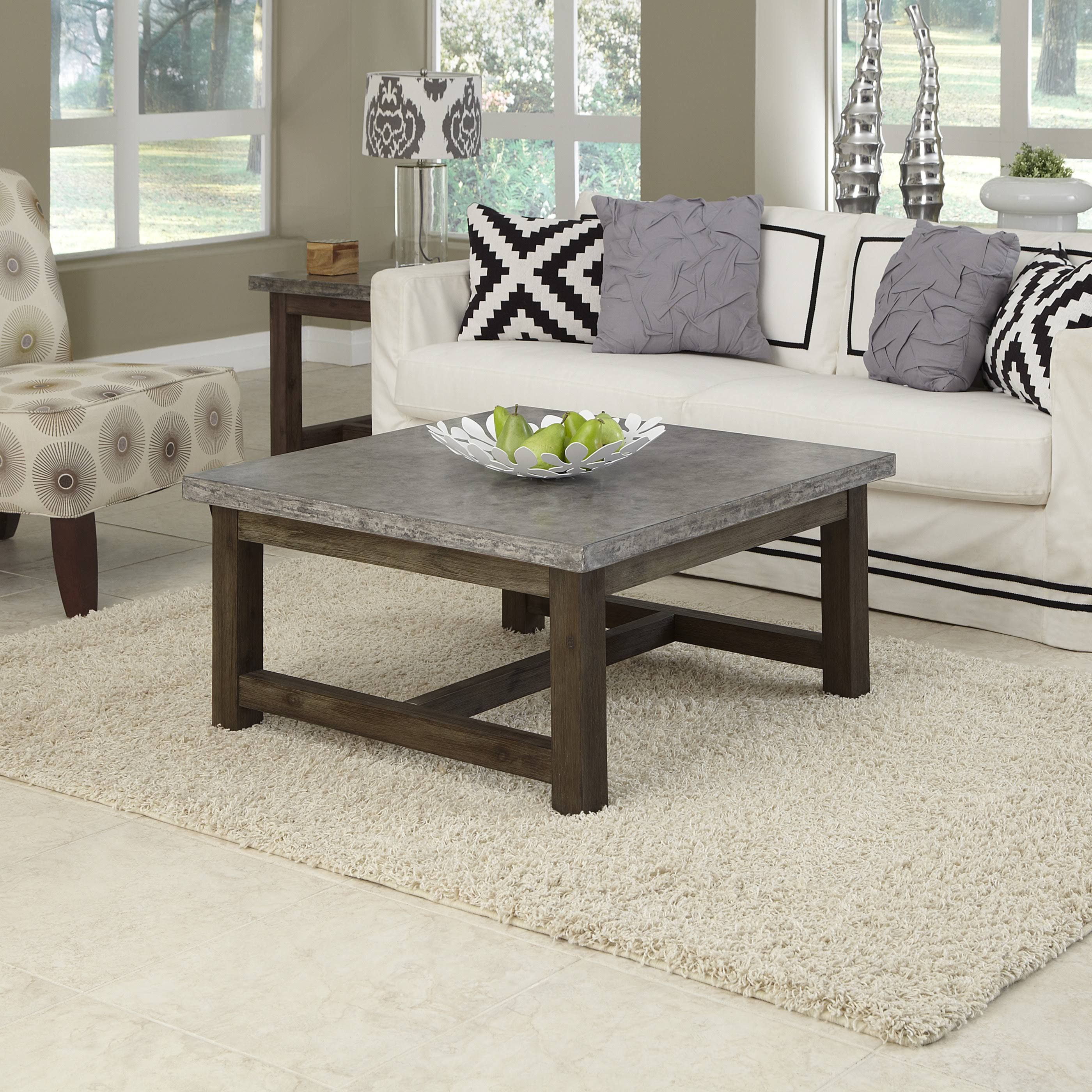 home styles 5133 21 concrete chic gray brown square coffee table