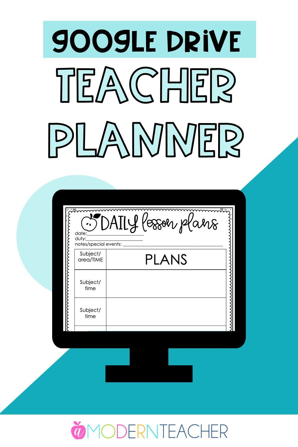 Google Drive Teacher Planner in 2020 Guided math lessons
