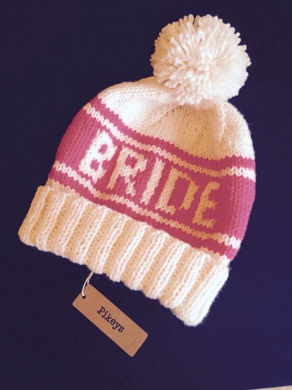 Pink Bride Pom Pom Beanie Retro Ski Hat for Photo Props by Pikeys