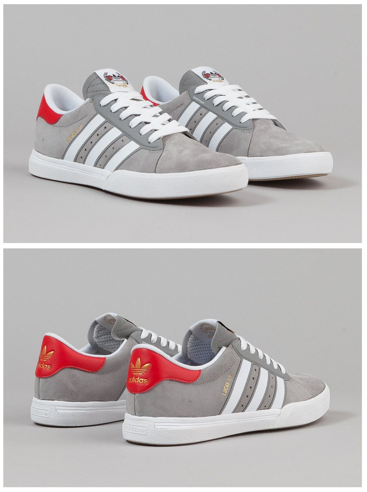 Adidas X Cliche Lucas ADV Shoes Grey White Scarlet