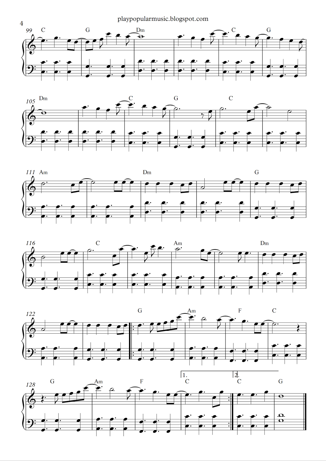 all of me piano notes