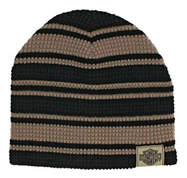 5dfc3049893 Harley-Davidson Men s Striped H-D Embroidered Knit Beanie Hat Black ...
