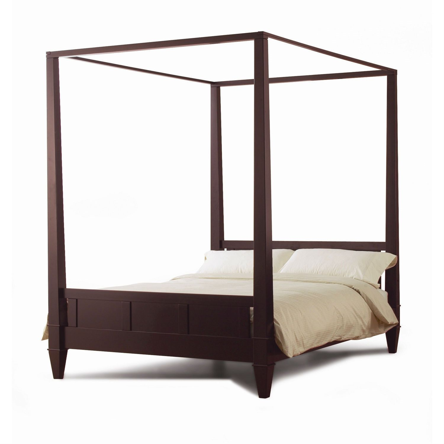 Queen Size Modern Canopy Bed Frame In Dark Brown Wood Finish