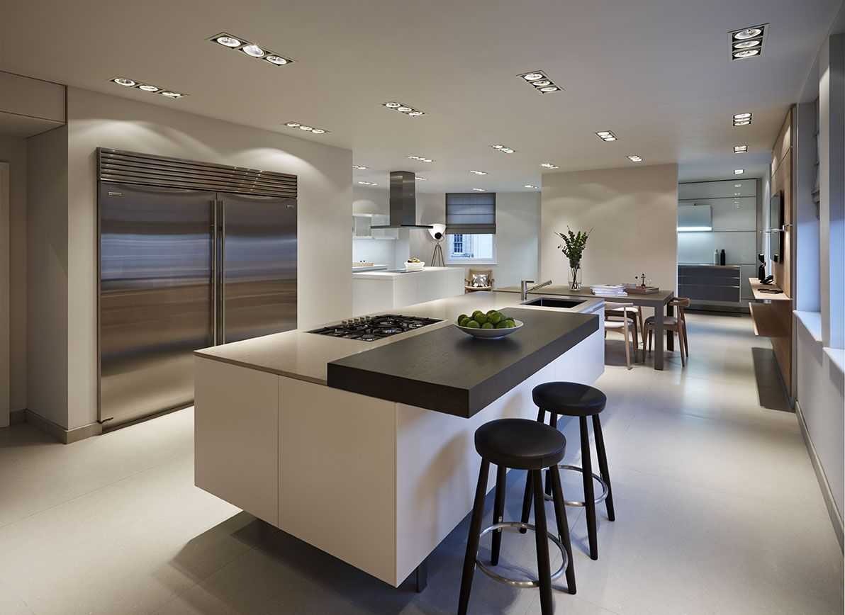 A bulthaup b3 kitchen island with Sub Zero double door