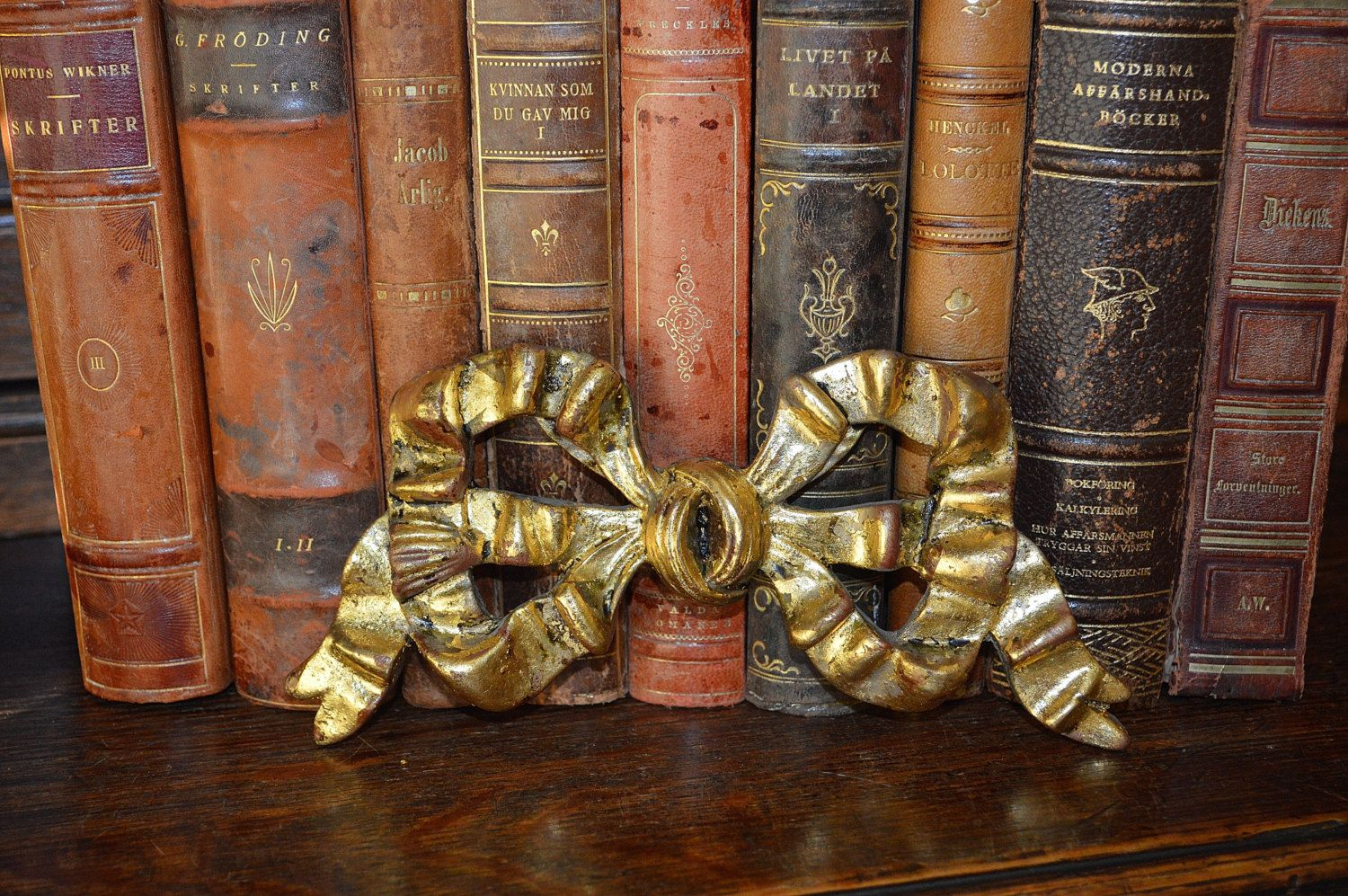 Vintage French Gold Gilded Bow Mount Pediment Trim Sold Individually 2 Available by VintageFleaFinds on Etsy