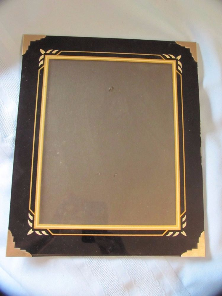 Art Deco Reverse Glass Painted Black Gold Picture Frame 10x12 Metal Corners Artdeco Unknown Gold Picture Frames Glass Painting Picture Frames