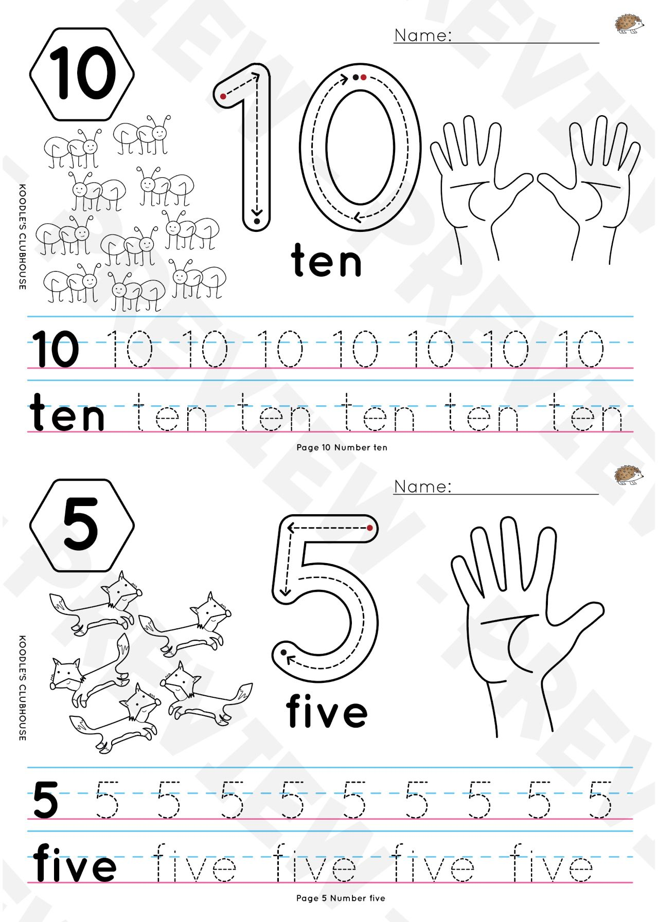 1 To 10 Tracing Worksheets
