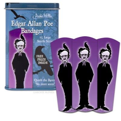 "Edgar Allan Poe Bandages - Quoth the Raven, ""No more sores!"""