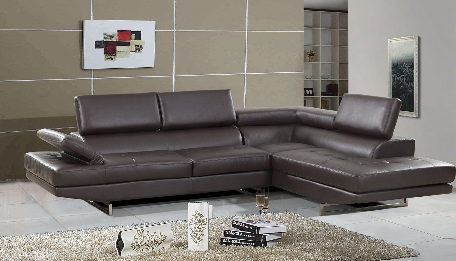 Amazon Com Xina 2 Pc Leather Contemporary Sectional Set 18bn Contemporary Sectional Sofa Furniture Lifestyle Furniture
