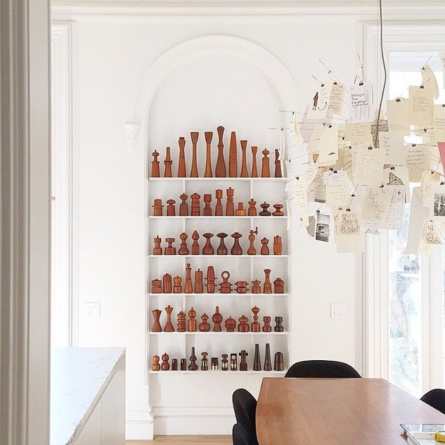 """Shelves for pepper mills by @metabolistchild #brownstone #gut"""