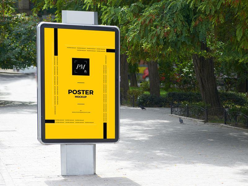 City Street Outdoor Advertisement Vertical Poster Mockup Poster Mockup Poster Mockup Psd Poster Mockup Free
