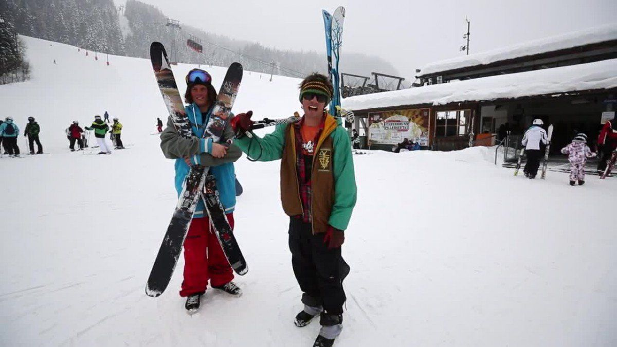 In this educational video from Teton Gravity Research, Colter Hinchliffe and Tim Durtschi instruct us in a variety of ski carrying techniques native to the Austrian Alps. While North Americans will be familiar with the classic over-the-shoulder carry technique known as The Local, they'll be less familiar with Austrian techniques such as The Offering, The Decapitator, The Oklahoma Suitcase, and The Reverse Local.