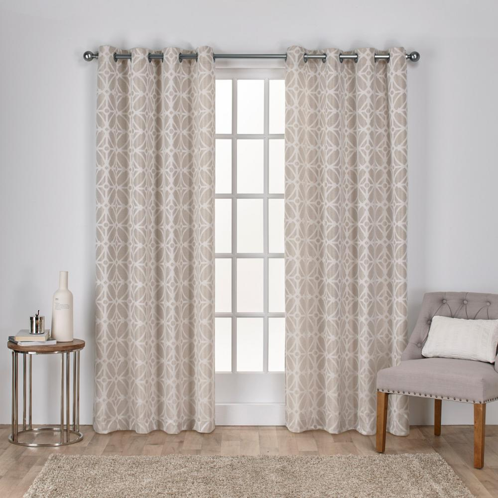 Cressy 54 In W X 108 In L Jacquard Grommet Top Curtain Panel In