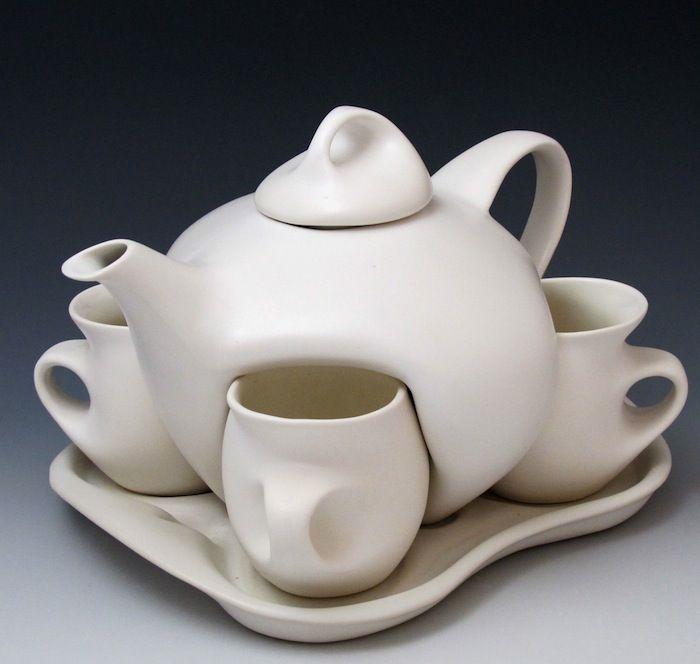 Peter Saenger, Design II Set (porcelain, white glaze)