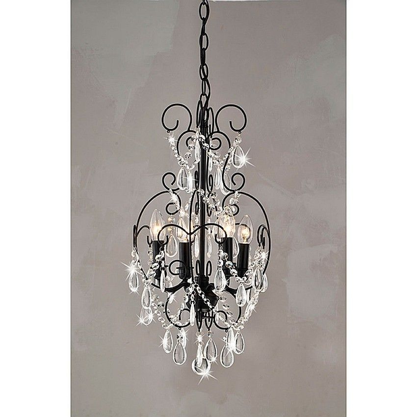 Small Crystal Chandelier 4 Light Black Ceiling Hanging Fixture