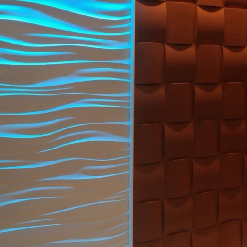 3d wall tiles wave wall with led lighting woven wall