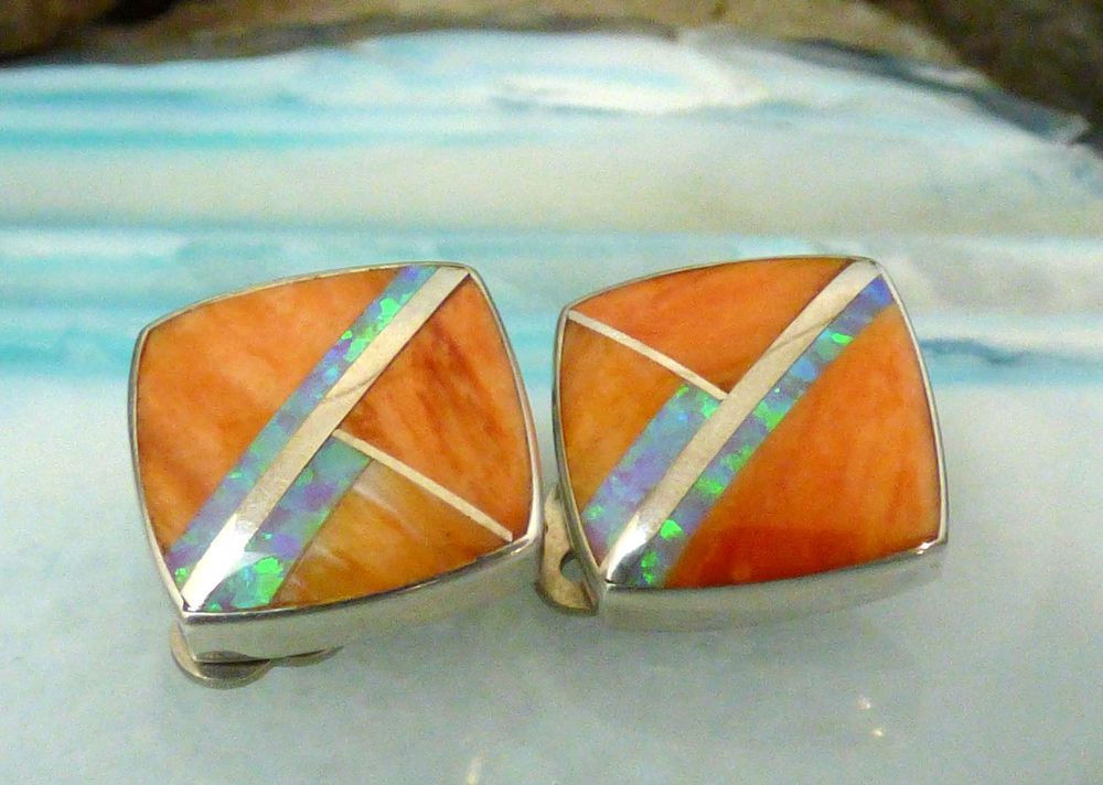 Cathy Webster Navajo Sterling Silver, Spiny Oyster Shell, & Opal Inlay Earrings! #CathyWebster