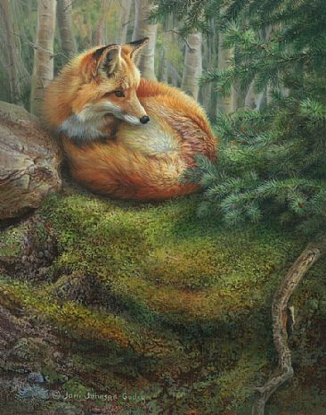 Fox painting - by Joni Johnson-Godsy