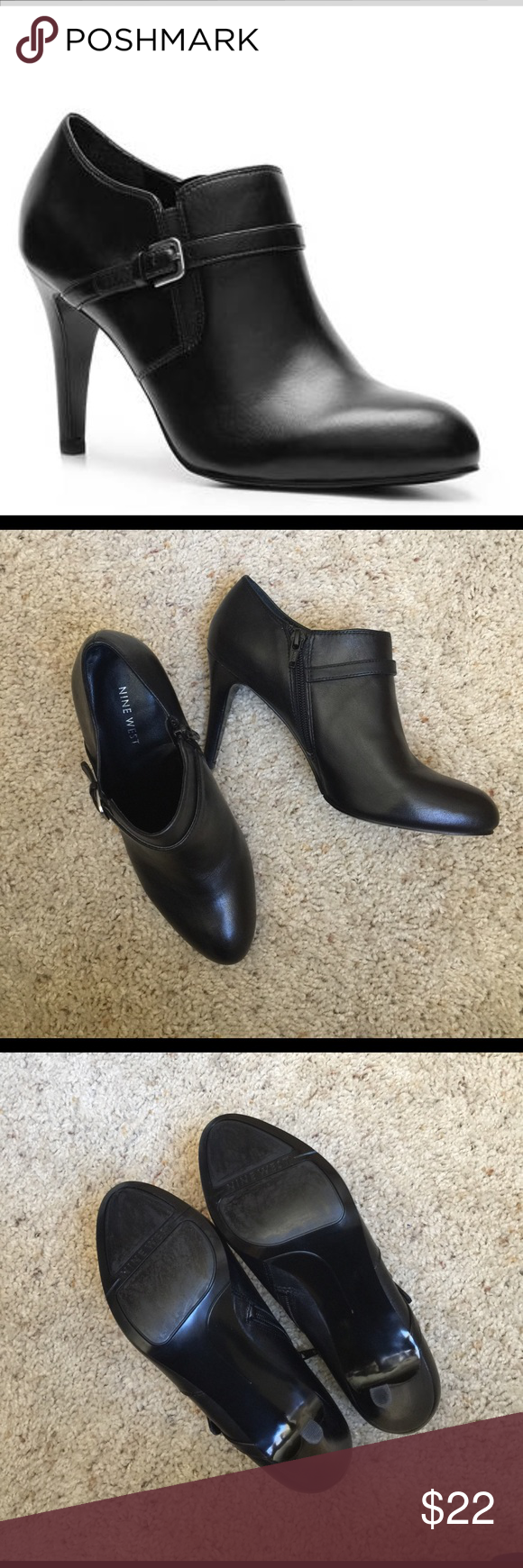 """NINE WEST METRA BOOTIE You'll look fierce in the Metra bootie by Nine West. Its sleek and sassy style will dress up your look in no time*Leather upper*Strap and buckle detail*Inside zipper closure*Almond toe* 3½"""" covered heel, size 7 Nine West Shoes Ankle Boots & Booties"""