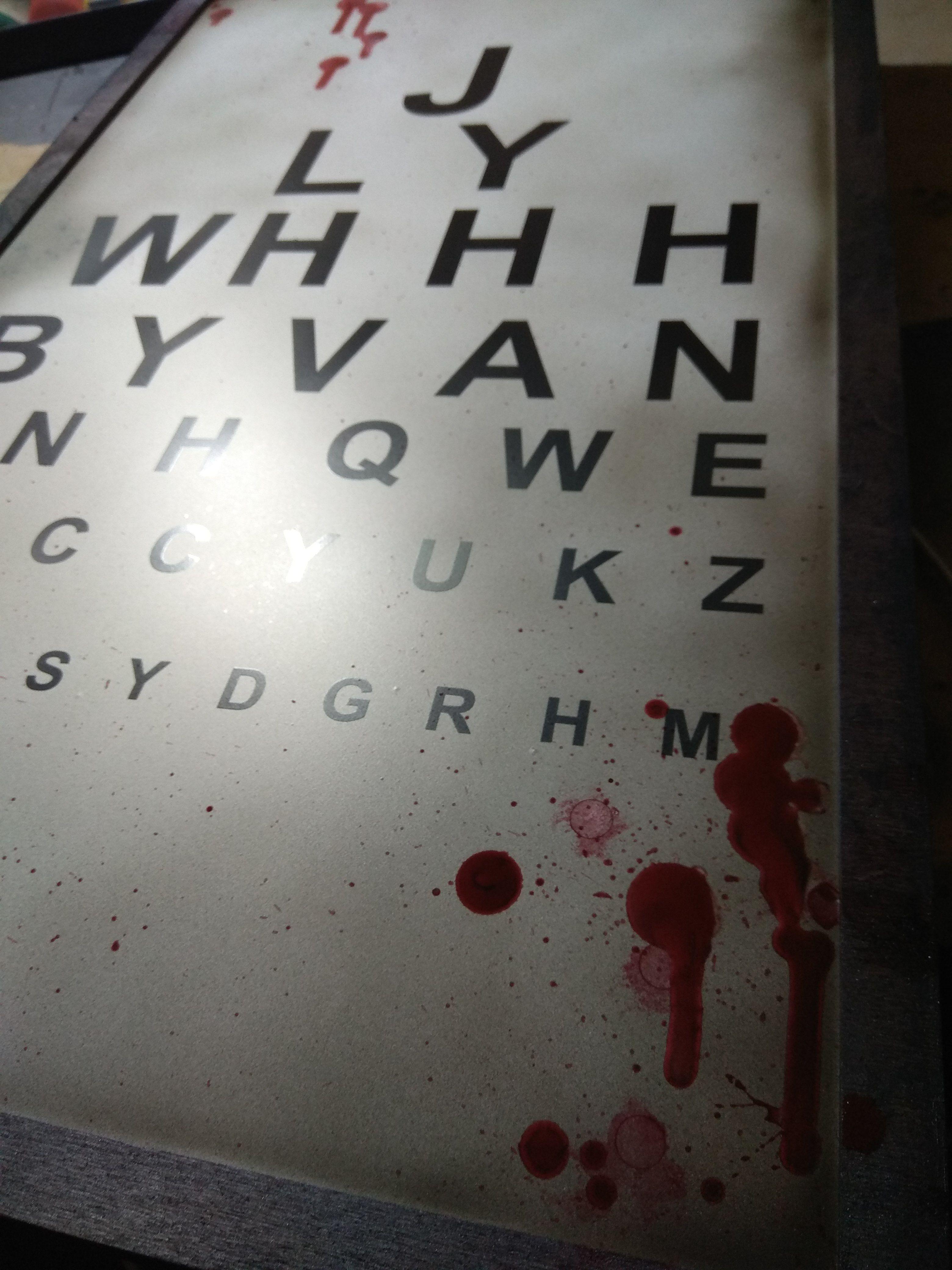 Eye Chart Prop For Asylum Escape Room Created By A Props Escape Room Puzzles Escape Room Eye Chart