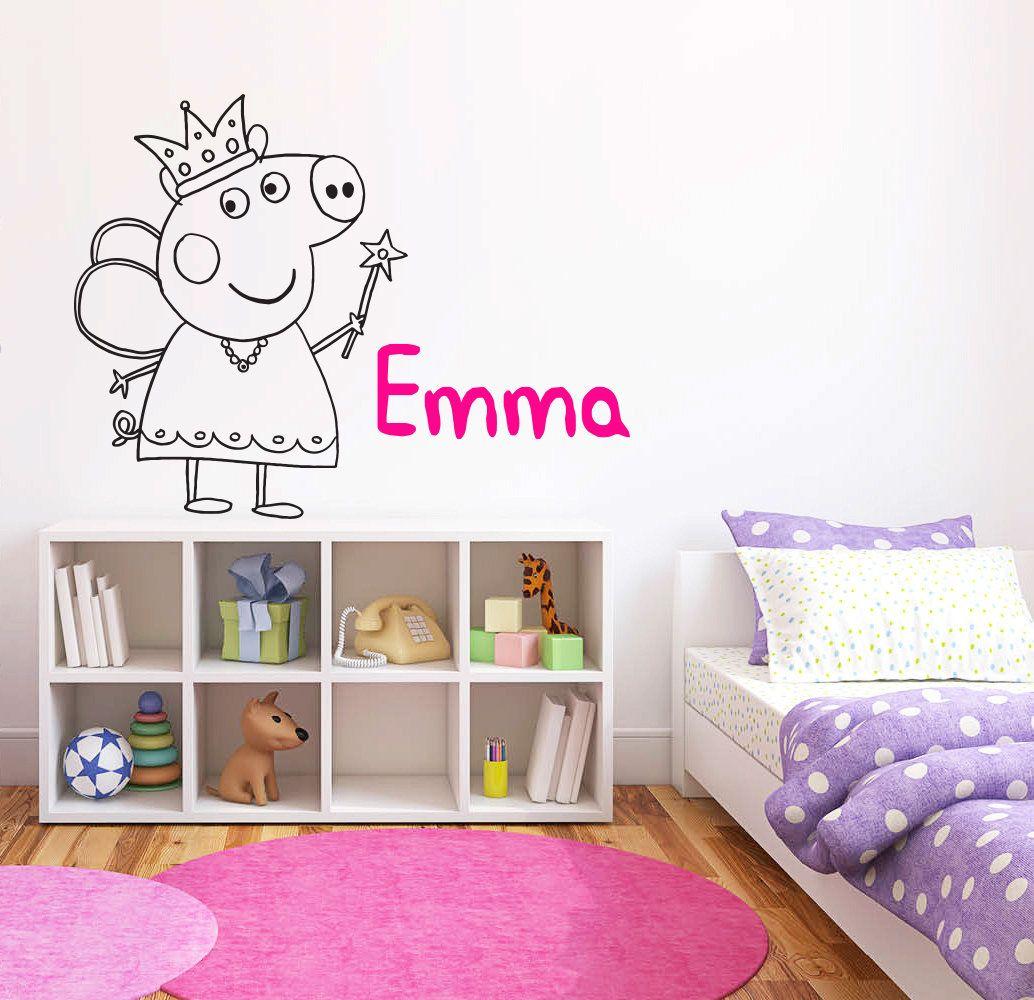 Peppa Pig Wall Decal Peppa Pig Princess Wall Decor Cartoon