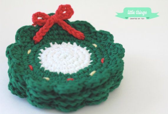 Christmas Wreath Crochet Coaster