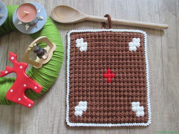 Topflappen Lebkuchen - kostenlose Häkelanleitung | Crochet creatures ...