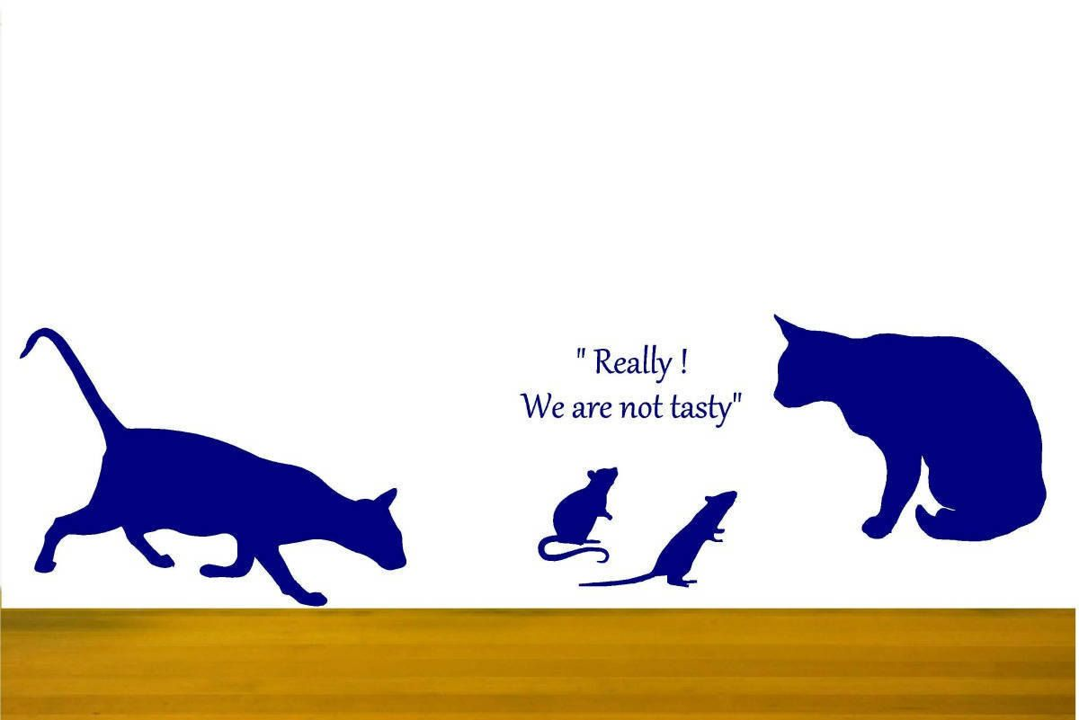 Cat Wall Decals Cat And Mouse Funny Cat Stickers Mice Wall