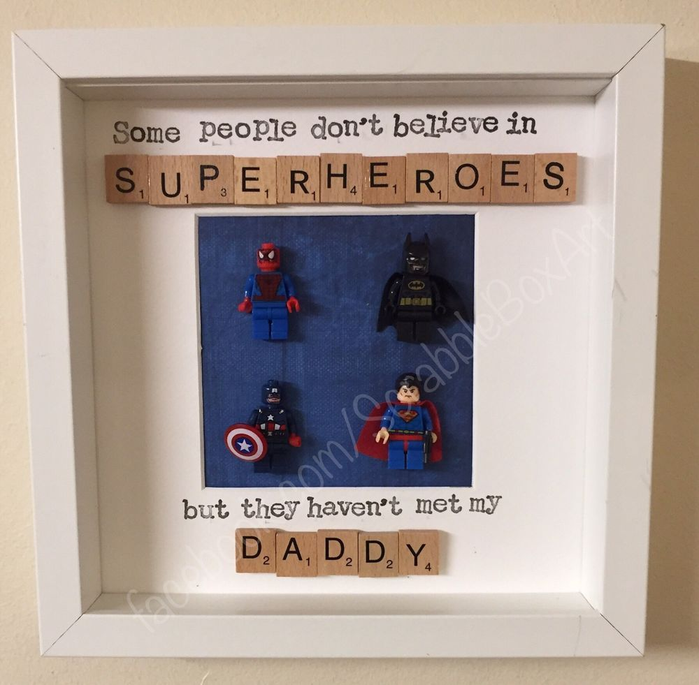 Handmade Personalised Scrabble Art Superhero Daddy Dad Grandad Gift ...