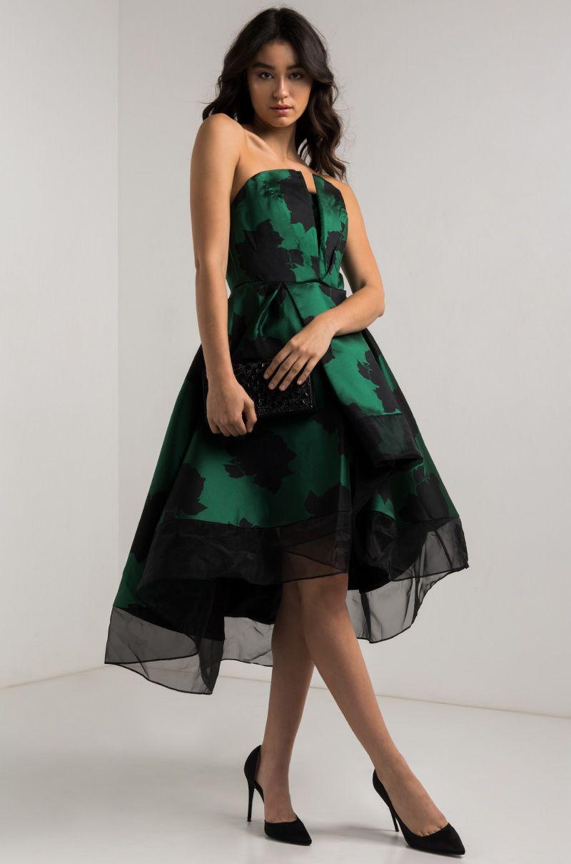 Ammo x akira strapless satin asymmetric layered prom dress in green