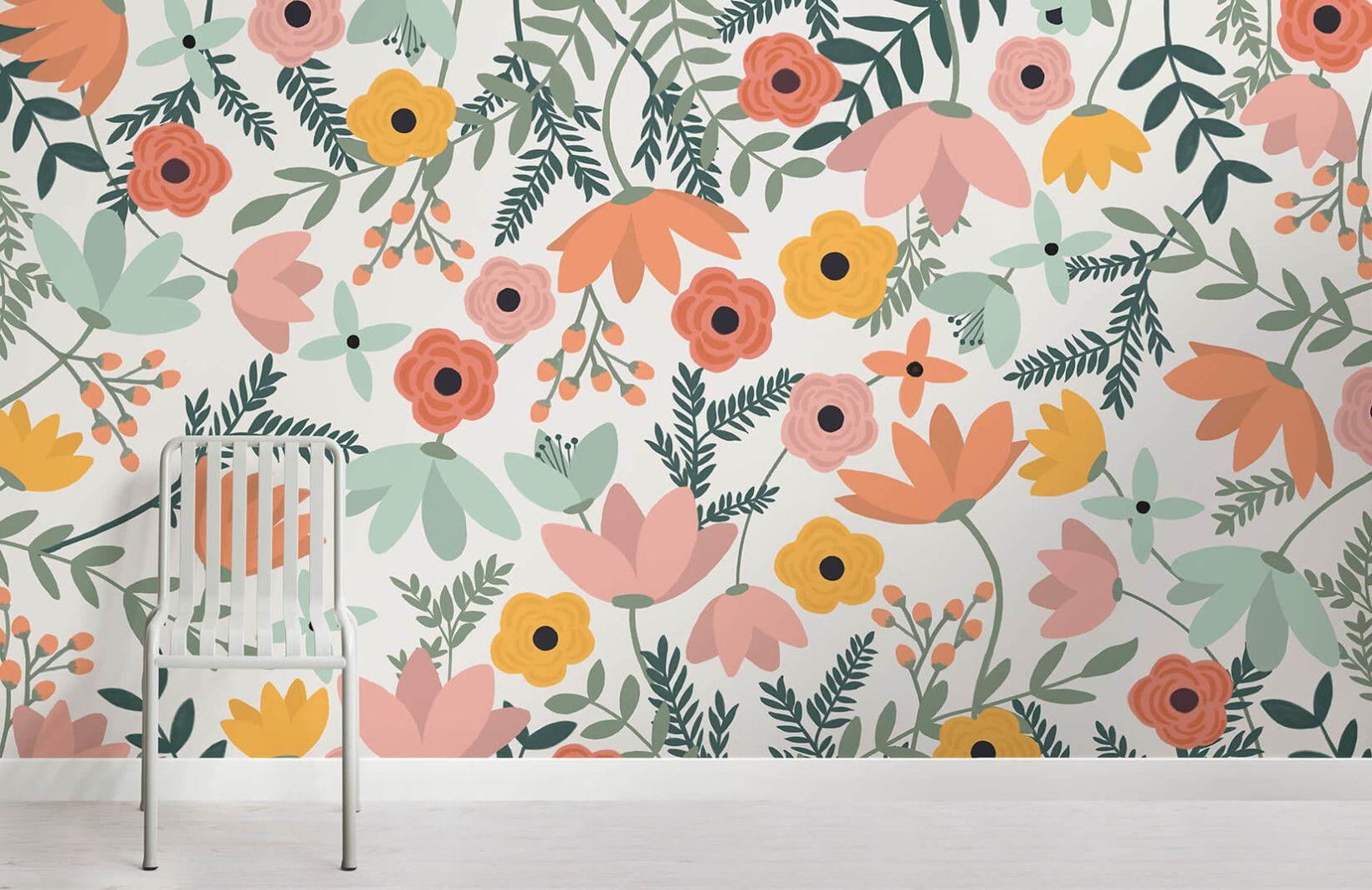 Wildflower Floral Wallpaper Mural Floral wallpaper