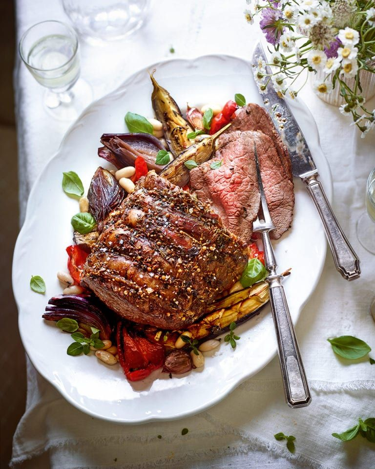Roast Beef With Aubergine Peppers And Cannellini Beans Recipe Delicious Magazine Recipe Cannellini Beans Recipes Stuffed Peppers Cannellini Beans