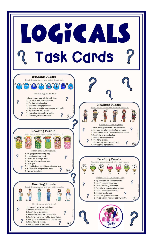 Logicals Task Cards Aufgabenkarten Unterrichtsmaterial Englischunterricht [ 1500 x 937 Pixel ]