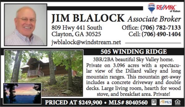 JIM BLALOCK Associate Broker 809 Hwy 441 South Clayton, GA