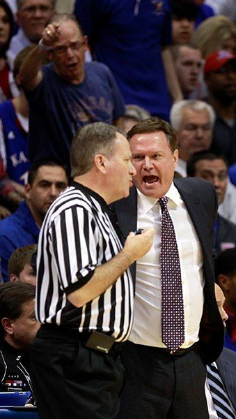 KU vs. KState 2/11/2013 Pics by Jeff & Laura Jacobsen  Coach Self was a bit upset about a call....