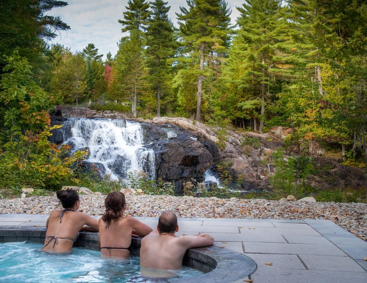 Luxury cottage rental in Quebec with private waterfall and hot tub