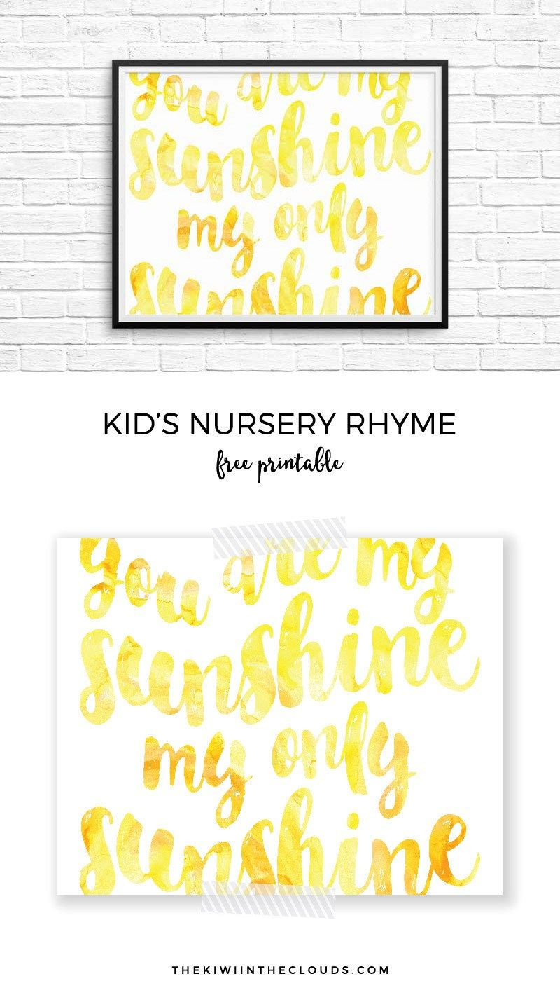 This You Are My Sunshine Printable Will Leave Your Nursery Cheery ...